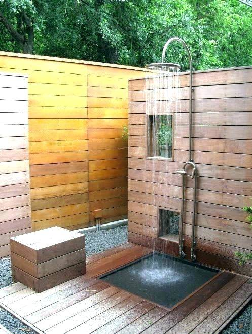 An outdoor shower can be a 'cool' addition to your backyard decorating, at the same time lets you enjoy a cool down this summer