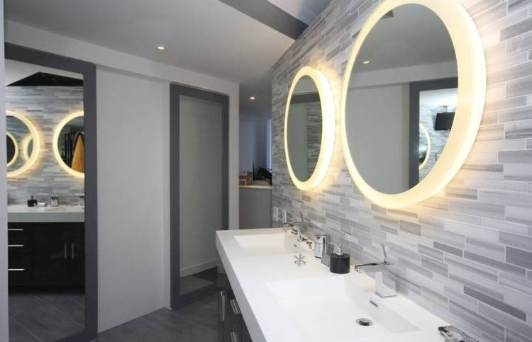 Bathroom Ideas : Small Bathroom With Modern Bathroom Furniture In Italian Style Small Black Contemporary Wood Vanity With Beautiful Wal Mirror On Gray Color