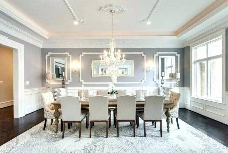Extensive use of gray in the transitional dining room [Design: E