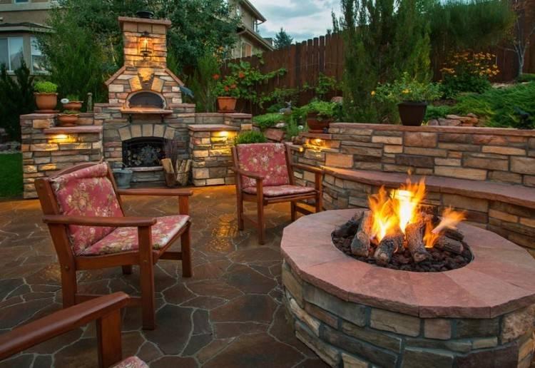 Paver fire pit on concrete patio