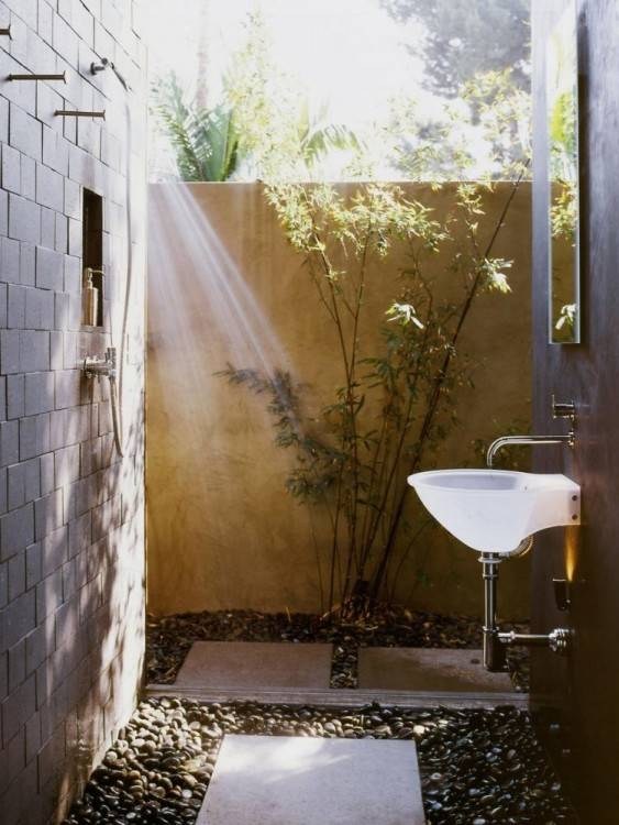 Above: Leave it to the Scandinavians to find a way of bringing the great outdoors into the shower, the smallest room in the house