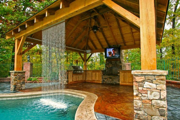 Custom contemporary outdoor kitchen, fiire pits, & outdoor living area