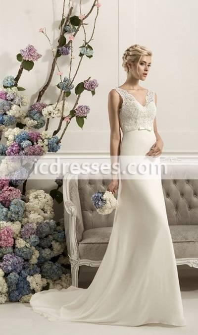 Greek Style Wedding Dress 2016 Sexy V Neck Long Chiffon Beach Wedding Gowns White A Line