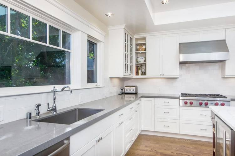 white kitchen cabinets green