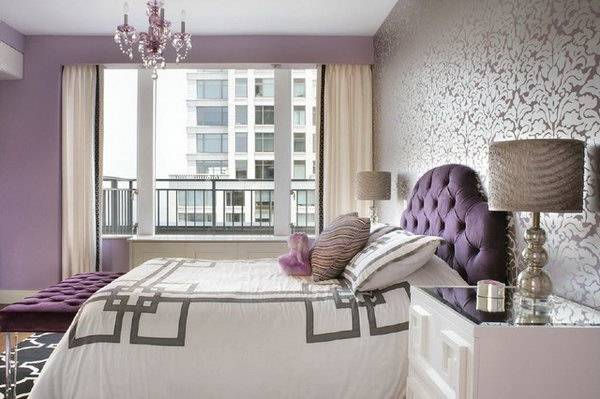 I like the cool chandelier! The  color of the purple accent wall is very pretty, I like this idea b