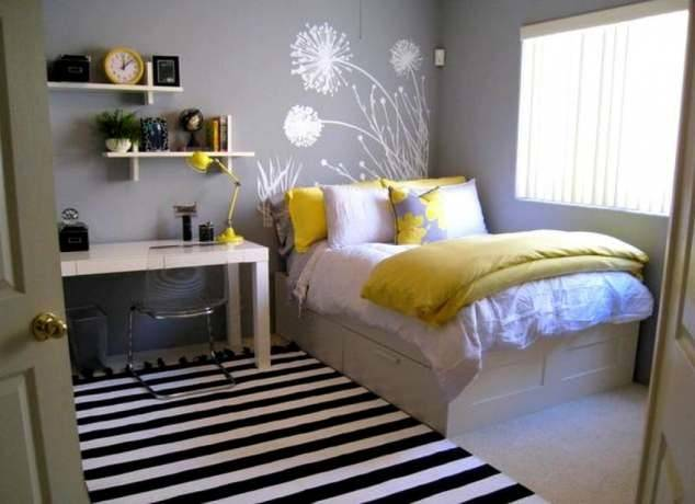 Bedroom, Inspiring And Cool Bedroom Designs For Small Rooms Also Queen Size  Bed With White Thick Quilt Also Soft Red Cushions Also Cool Ceil