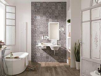Wall tiles: Antique Grey 31,6x90 cm · Park Silver 31,6x90 cm
