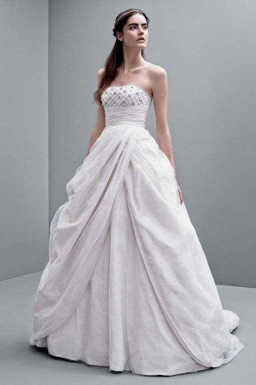 This is the most popular style for petite brides, view pinterest or search