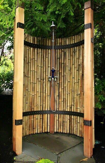 Above: An outdoor shower in a secluded corner of a Cape Cod garden needs no  walls, doors, or curtains
