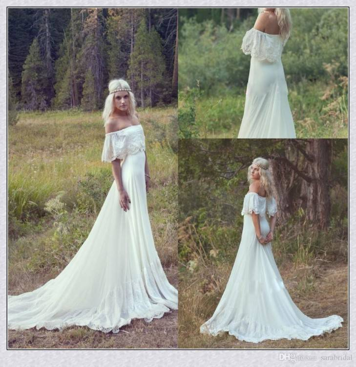 Discount Bohemian Hippie Style Wedding Dresses Beach A Line Wedding Dress  Maternity Pregnant Bridal Gowns Short Sleeve White Lace Chiffon Boho Simple