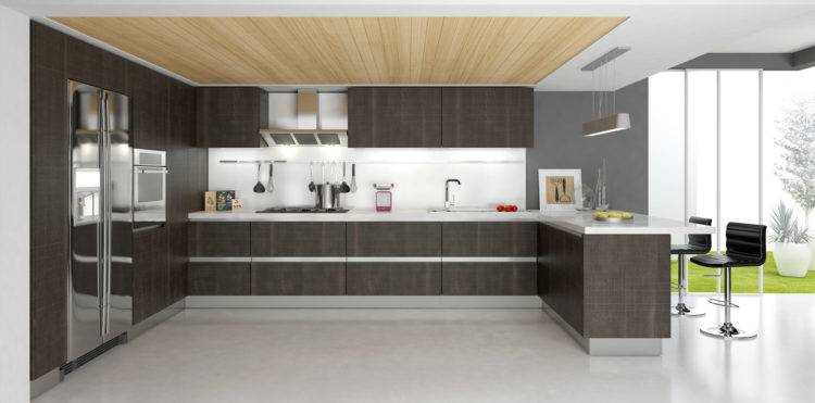 Kitchen Workspace: Some of the lower cabinets have a metal grating instead of wood, to add another layer of texture