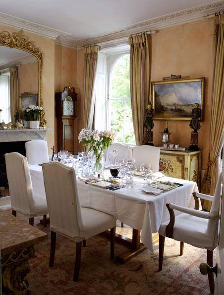 A light, bright dining room is sure to serve dreary day refreshment