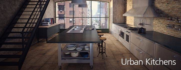 """This urban Loft kitchen design (above) uses the same elements as the one with the modern look but it features the weathered looking """"Fossil Oak"""" melamine"""