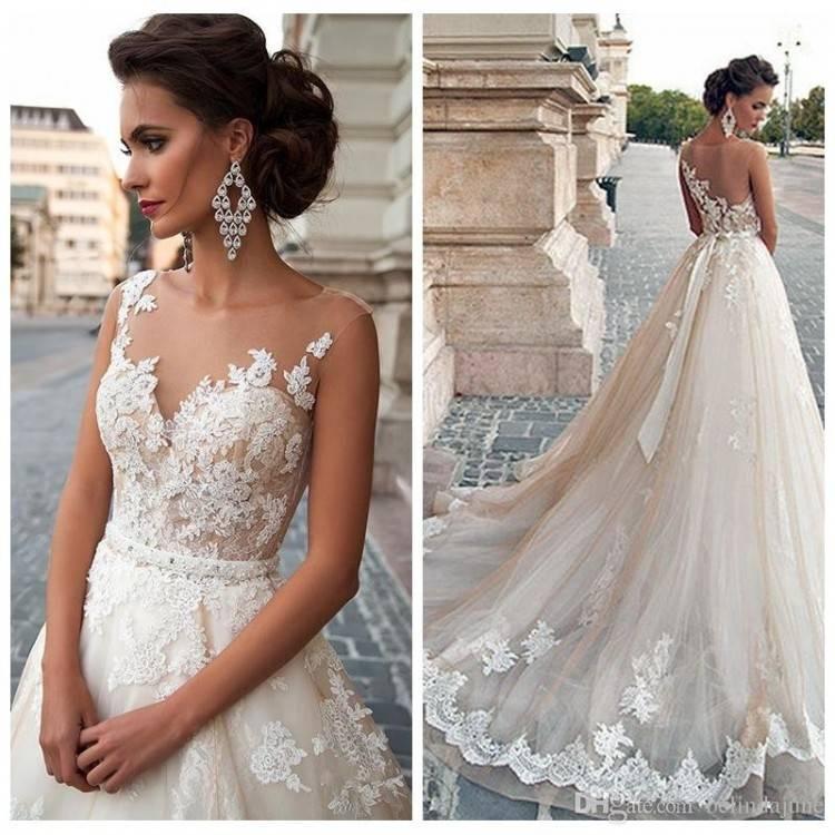 Großhandel Europäische Mode Sheer A Linie Frauen Brautkleider Modest Damen Weiß Brautkleid Billig Verkauf Online Spitze Appliques Brautkleider 2017 Von