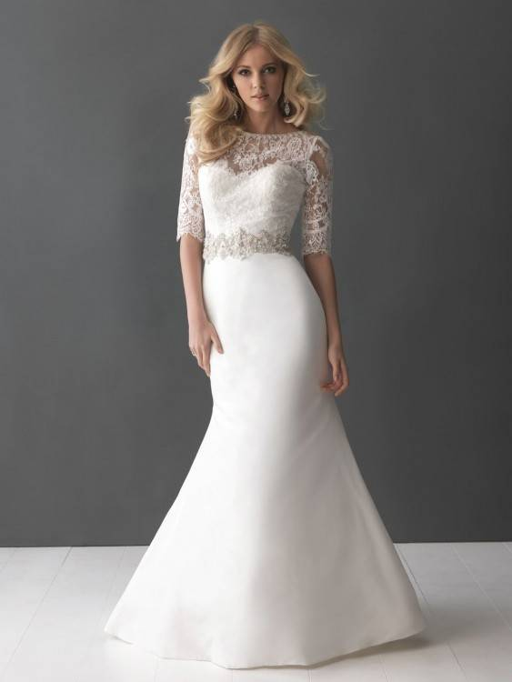 Discount South Africa Style Wedding Dresses 2016 Sheer Neck Illusiong Long Sleeve Lace Short Bridal Gowns With Tulle Overskirts Hi Lo Wedding Dresses Winter