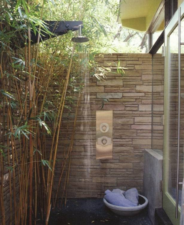 Image Source: Outdoor Shower in White Outhouse, Backyard Outdoor Shower with Yellow Curtains, Outdoor Rain Shower, Wooden Shower on Side of House,