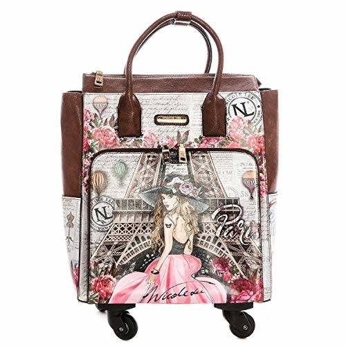 Suitcases on wheels, elegant women handbags and