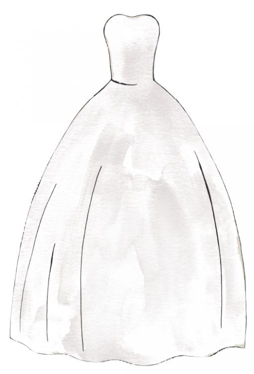 Set of wedding dress styles for female body shape types