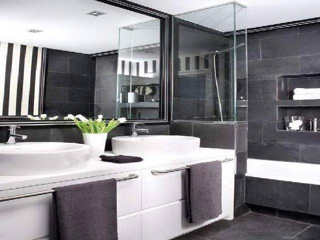 Gray doesn't mean boring! It's a classic, elegant color that suits many · Gray Bathroom Paint · Small
