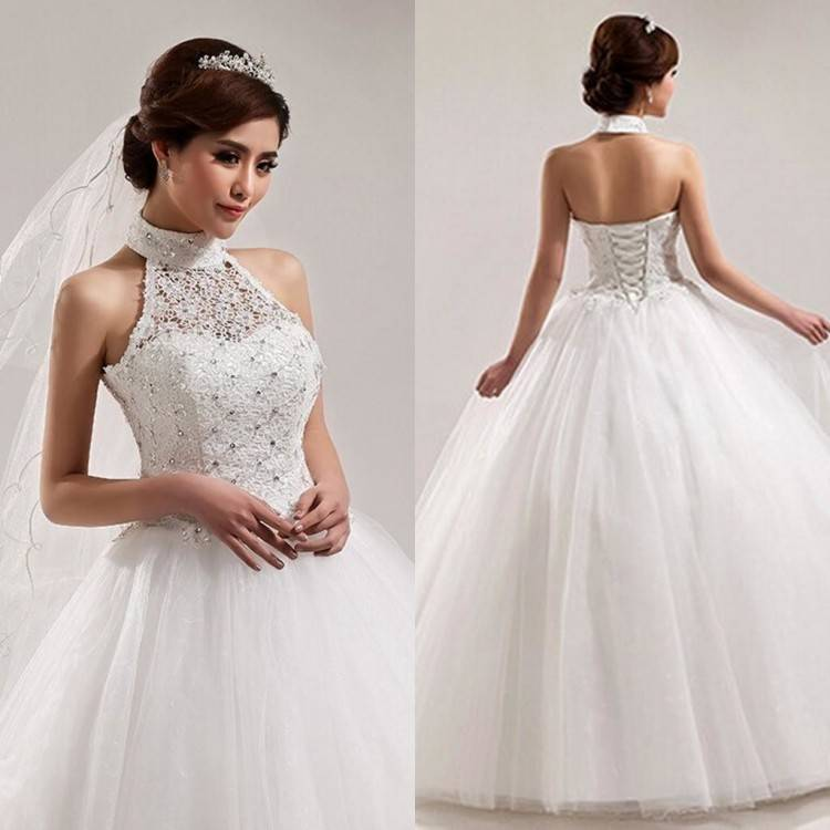 Luxury Conservative Bridal Dresses : Vintage Saudi Arabia Formal Evening Dresses High Neck Lace Beading Puffy