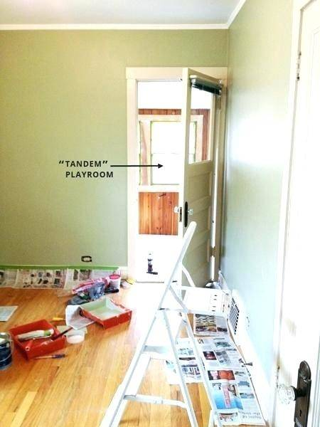 peach and brown bedroom