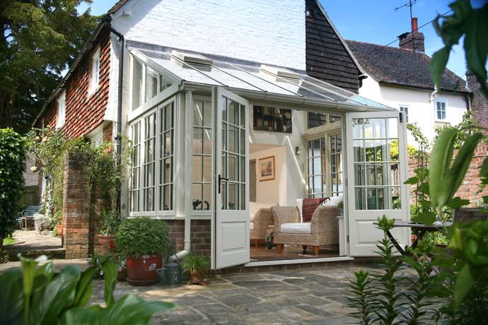 Cream and leather conservatory