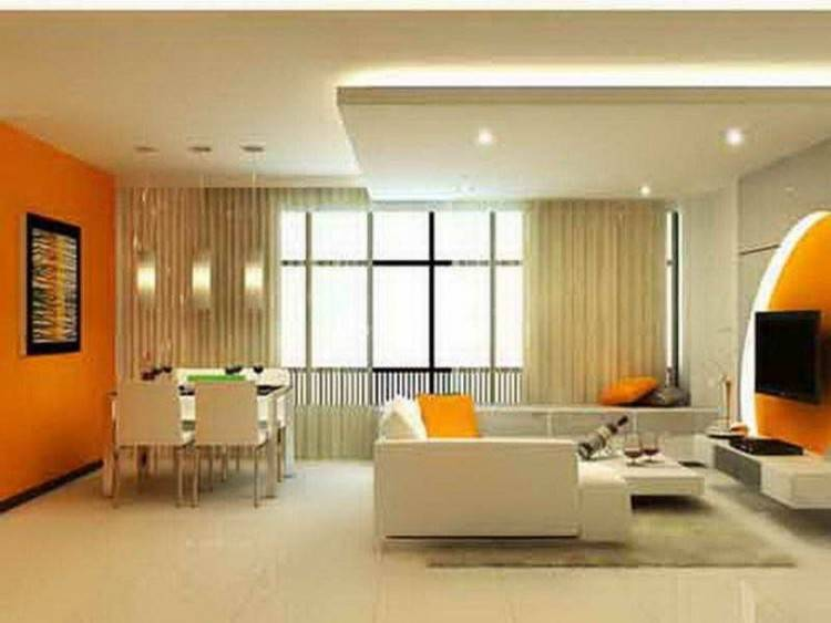 orange living room decor