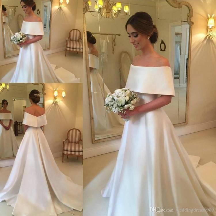 Satin vintage Wedding Dresses off shoulder korean simple elegant bridal wedding gown real picture floor length