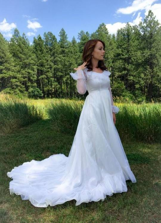 60s Wedding Dresses | 70s Wedding Dresses Amour Lace Wedding Gown Ivory  Womens Plus Size $288