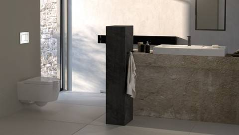 W Bath Vanity in Gray with Marble Vanity Top in