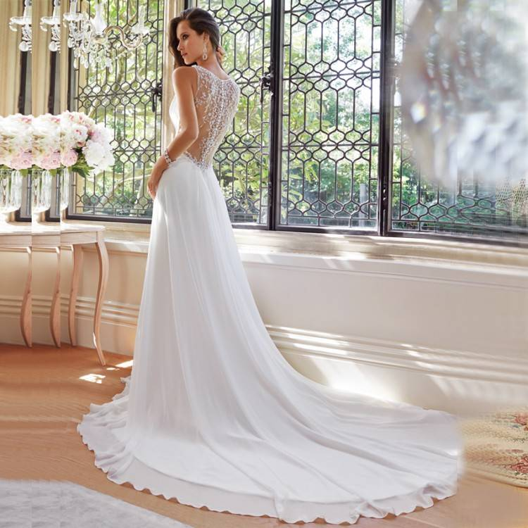 A Line Deep Neckline Simple Elegant Wedding Dress Light Peach Bridal Gown  High Quality Factory Custom Made Canada 2019 From Allaboutwedding,