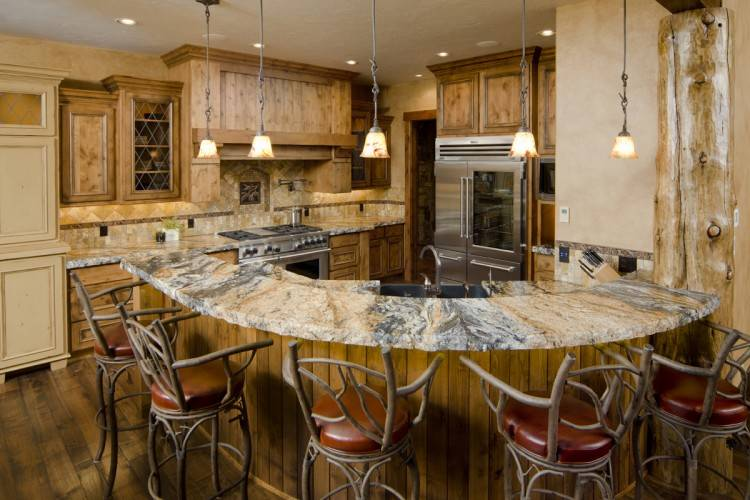 Open dining space in a modern ranch house kitchen