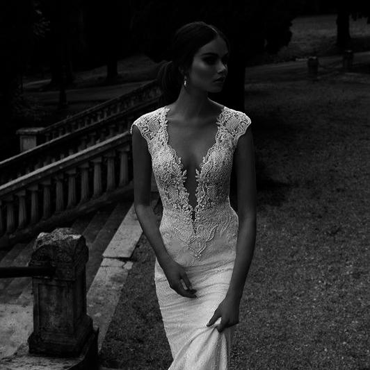 An empire wedding dress style has a high waistline