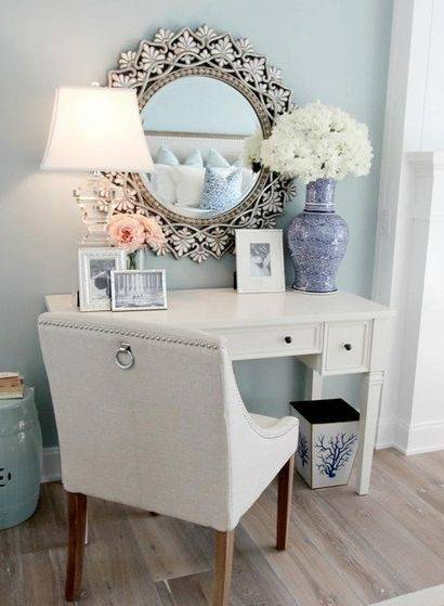 Pleasureable White Distressed Wooden Rustic Vanity With Pair Of Double Door Cabinets Storage And Double Drawers As Well As Stacked Stone Wall Panels In