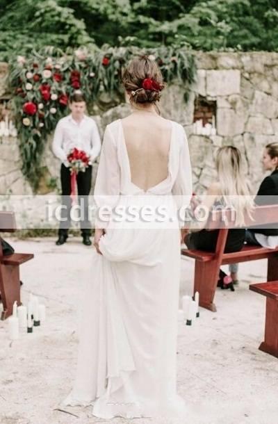 Greek Goddess Style Wedding Dress Long Sleeve Deep V Neck Flowing Chiffon  Floor Length Graceful Bridal Gowns Vestidos De Noiva Custom Made Cheap  Wedding