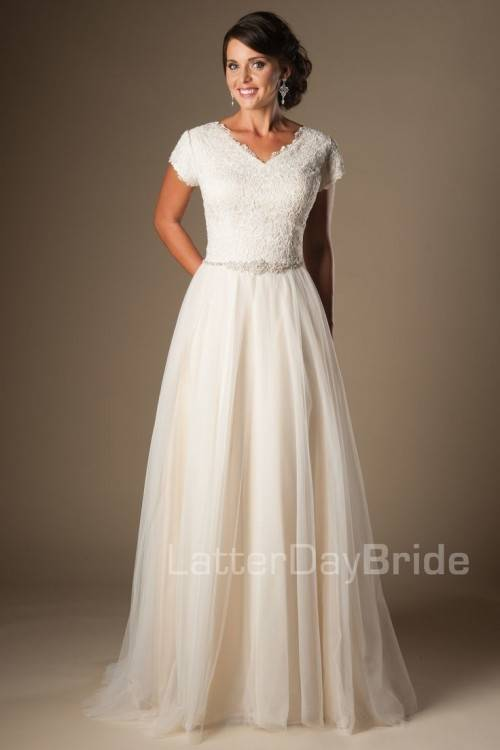 Back of Modern lace modest wedding dress, style Everly, is part of the LatterDayBride