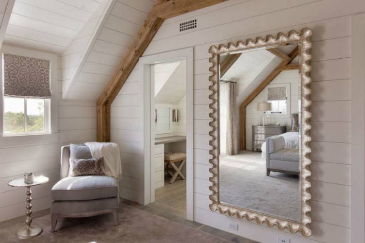 new mirror over bed showing long bedroom ideas