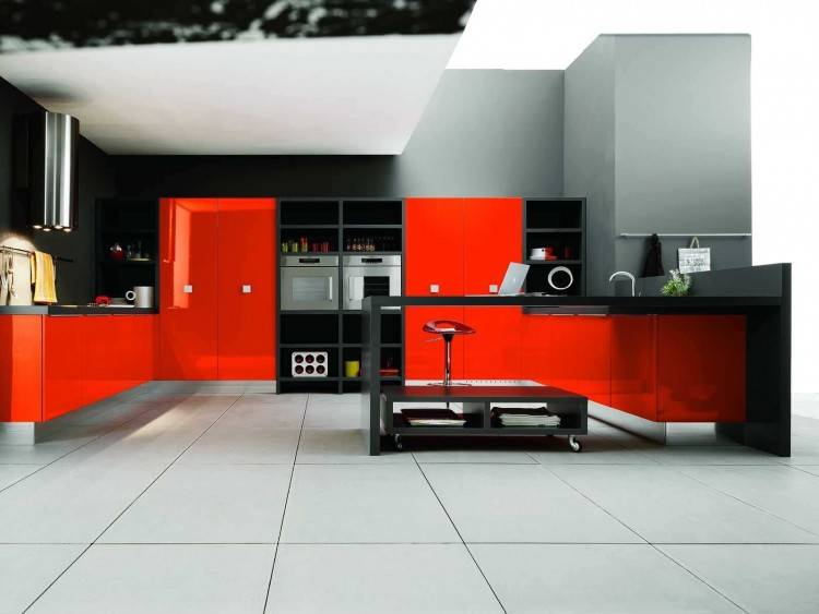 50 Plus 25 Contemporary Kitchen Design Ideas Red Kitchen Cabinets  Amazing Red And White Kitchen Cabinets
