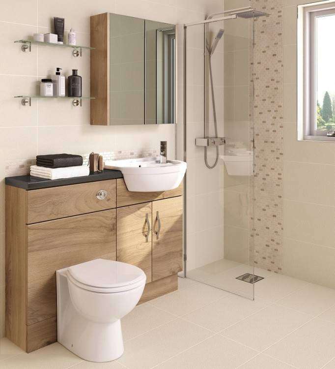 Keep the space useful and practical by adding shelving and baskets for  toiletries and towels
