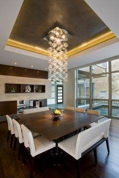 White Rectangle Dining Table Glass Top Modern Dining Room Lighting Square High Gloss Dining Table Five Small Hanging Lamp Black Metal Chandeliers Corner