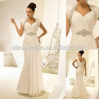 Halter Beaded Chiffon Long Wedding Dress