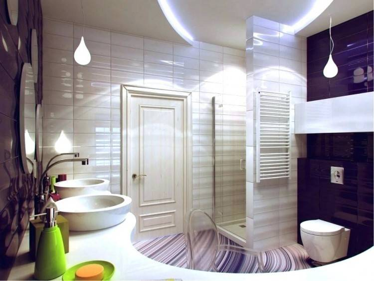 Interesting use of wall art in the purple contemporary bathroom [Design: Xstyles Bath +