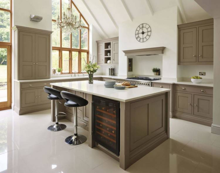 Kitchen Ideas : White Brown Green Kitchen Color Ideas Along With Small White Shaker Wood Kitchen Cabinet With Wooden Countertop Plus Green Modern Tiles
