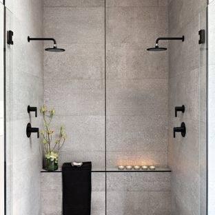 hero tiny house bathroom with gray tile