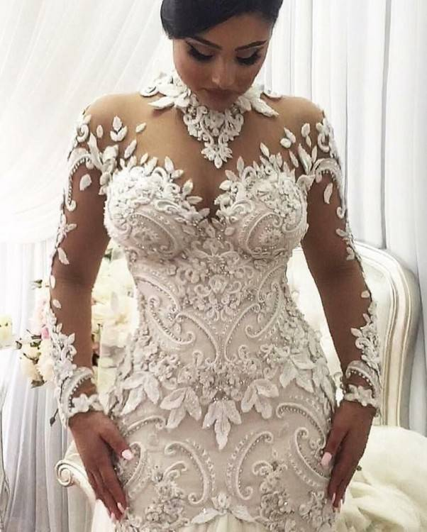 Discount Plus Size A Line Nigerian Wedding Dresses 2017 Sheer Jewel Neck  With Beads Belt Tiers Tulle Bridal Gowns Outdoor Robe De Mariée Custom  Vintage