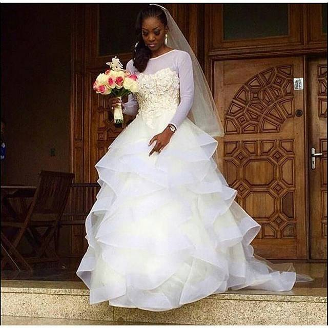 Nigeria Style Tiered Wedding Dresses 2017 Summer Lace Top Long Sleeves Plus  Size Bridal Gowns Tulle Ball Gown African Wedding Dresses Wedding Ball Gown