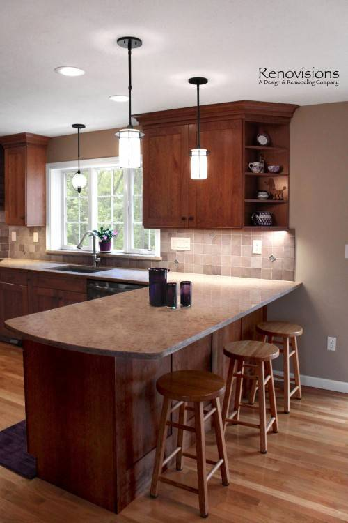 wooden kitchen cabinets designs Unique Kitchen Cabinet Layout With Wooden Material In Traditional Touch Using Glass Cabinet Door small kitchen design layout