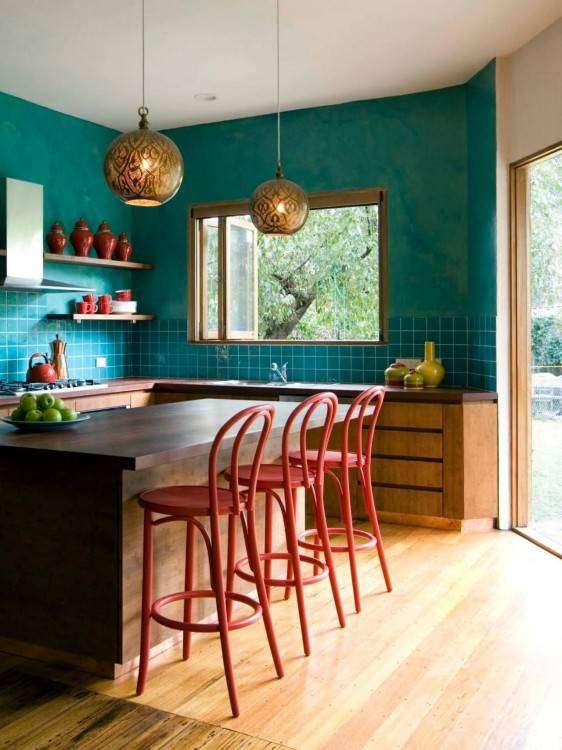 Kitchen with shimmer blue turquoise backsplash and farmhouse sink