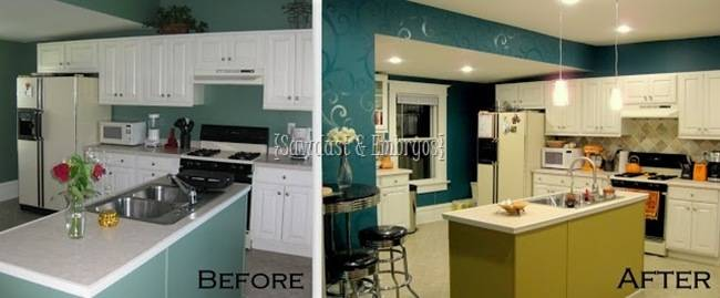 extending cabinets up to ceiling and painting a fun color!