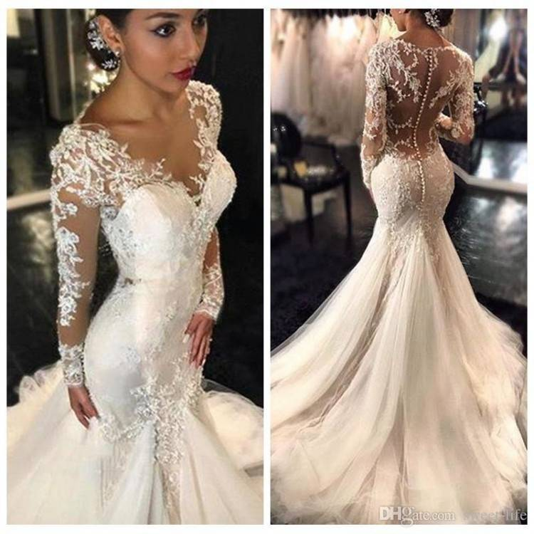 New 2017 Gorgeous Lace Mermaid Wedding Dresses Dubai African Arabic Style  Petite Long Sleeves Natural Slin Fishtail Bridal Gowns Plus Size Wedding  Dress